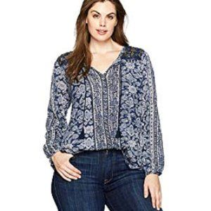 Lucky Brand Plus• Mixed Vintage Print Top 1X